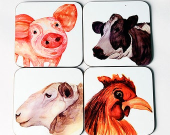 Farm Animal Coasters, Single Coaster, Coaster Sets, Watercolour Art, Animal Art Coasters
