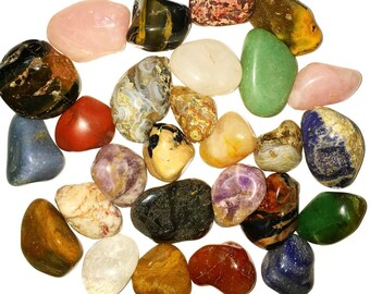 Two Pounds of Natural Tumbled Stones - Assorted Mix