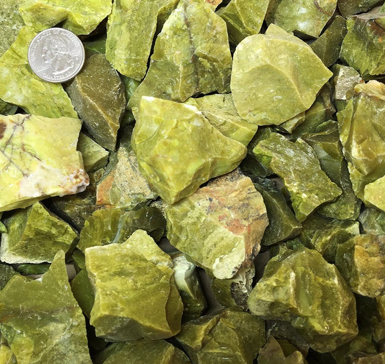 One Pound Natural Rough Olive Green Opal - Crystal Tumbling, Cutting,  Cabbing