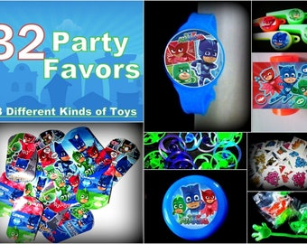 PJ Masks- 32 Party Favors Combo-Toys Birthday Prizes Pinata Filler Pack Patrol Noisemakers Pack
