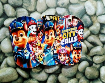 Paw Patrol -12 Paper Dog Tag Pendants  -Toys Birthday Prizes Pinata Filler Pack  Noisemakers Loot Party Pack- Free Shipping (USA only)