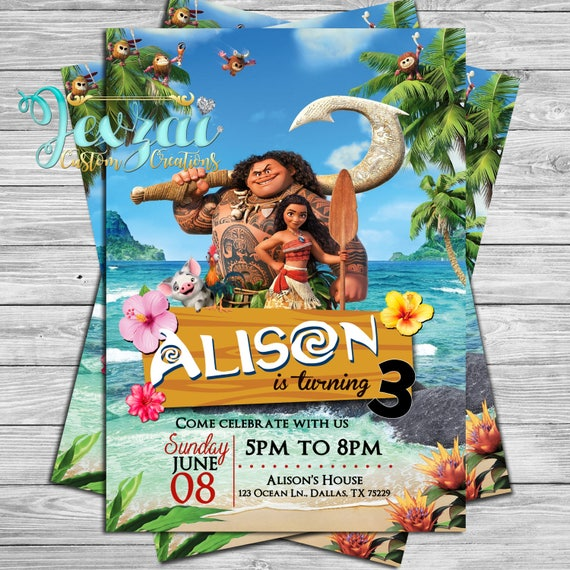 Moana Birthday Invitation Princess Disney