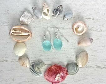Glacier Blue Genuine Seaglass Earrings Silver Wire Wrapped Caribbean Beach Boho by Mountain Beach