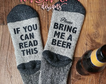 If You Can Read This - MENS WINTER SOCKS - Black/Grey Toe/Heel