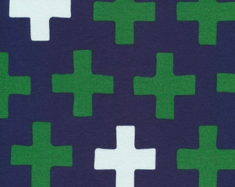 CLOSEOUT 40% off all orders over 100 dollars- REMNANT 2.8 Yards- Cloud 9 Navy ORGANIC Cross Interlock Knit Fabric by The Yard