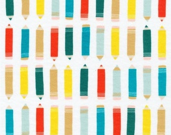 CLOSEOUT 40% off all orders over 100 dollars- Cloud 9 Off White ORGANIC Art Class Pencil Interlock Knit Fabric by The Yard