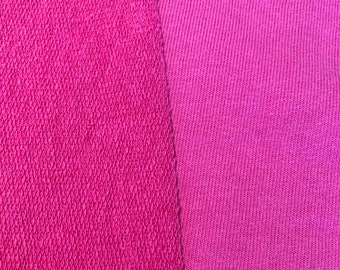 """CLOSEOUT 40% of all orders over 100 dollars- Remnant- 1.6 yards Fuschia Pink French Terry Fabric by the Yard- 60"""" Wide"""