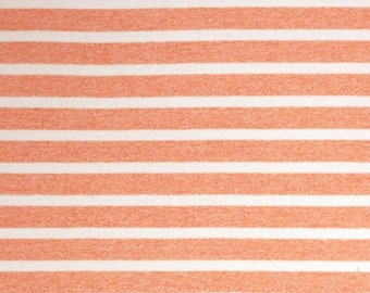 CLOSEOUT 40% off all orders over 100 dollars- Peach and White Stripe Cotton Jersey Blend Knit Fabric by the Yard