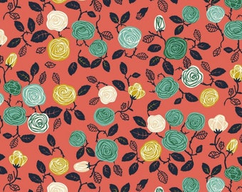 CLOSEOUT 40% off all orders over 100 dollars- Remnant- Birch Organics Roses in Coral Cotton Woven- 1.35 Yards