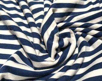 CLOSEOUT 40% off all orders over 100 dollars- Deep Blue Ivory Stripe Cotton Jersey Knit Fabric by the Yard