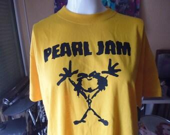 Pearl Jam yellow t shirt size XXL 3e shipping worldwide