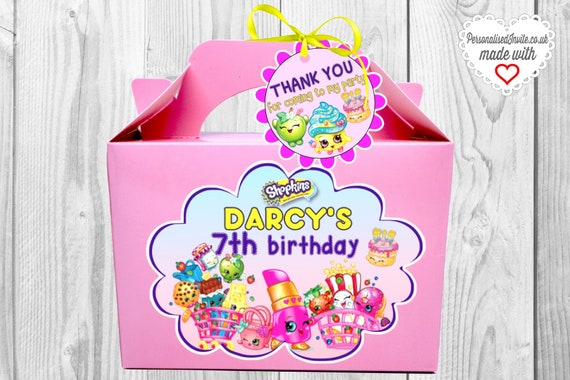 Gift Sweets Personalised for Favors Personalised SHOPKINS Party Box Treats Goodies Candy bag Shopkins themed birthday x1