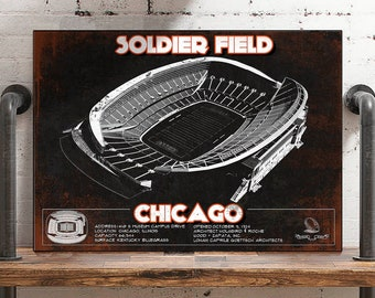 Chicago Bears Stadium Seating Chart Soldier Field Vintage Etsy