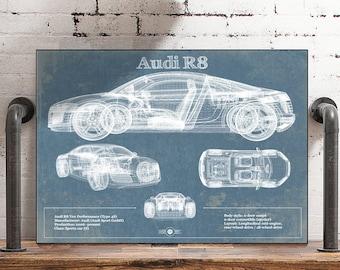 Silver Audi R8 Supercar CARS3467 Art Print Poster A4 A3 A2 A1