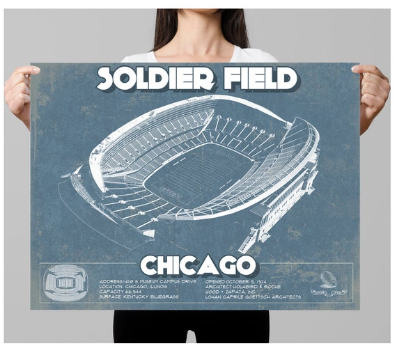 Chicago Bears Stadium Seating Chart Soldier Field Vintage Football Print