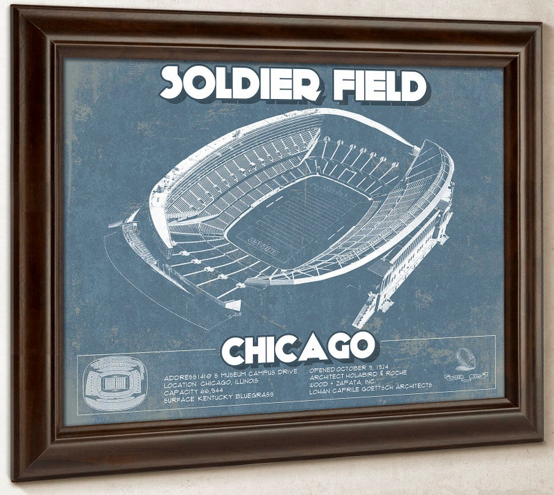 Chicago Bears Stadium Seating Chart Soldier Field Vintage Football Print