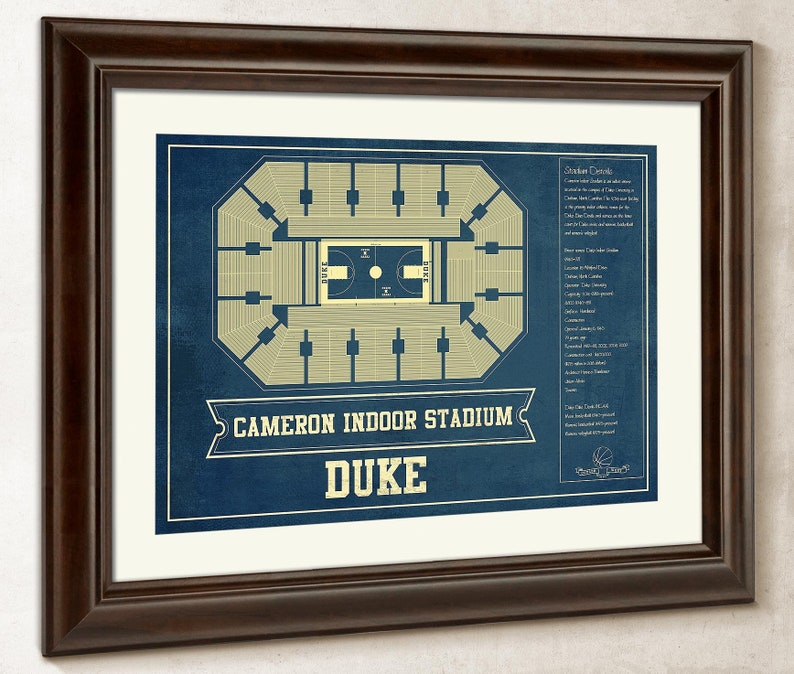 Duke Blue Devils Cameron Indoor Stadium Seating Chart College Basketball Blueprint Art
