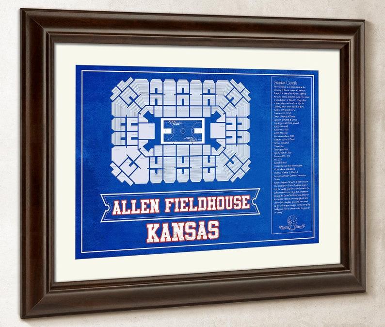 Kansas Jayhawks Allen Fieldhouse Seating Chart College Basketball Blueprint Art