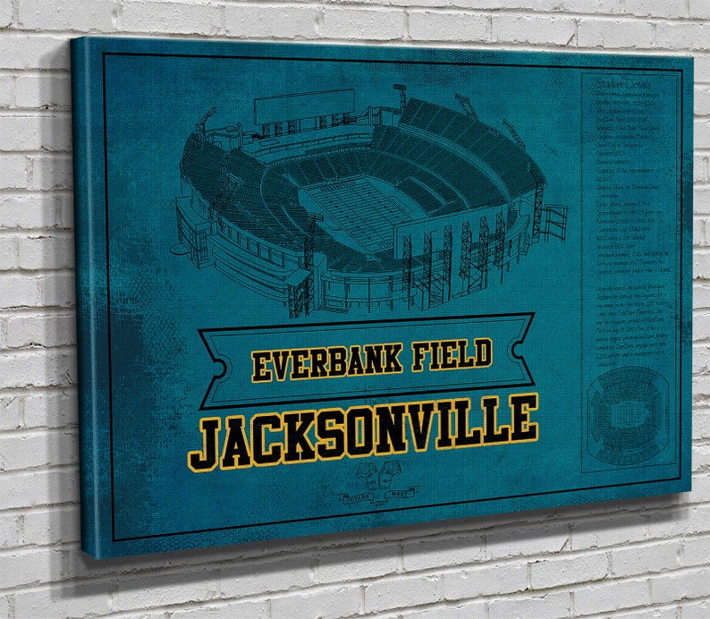 Jacksonville Jaguars Seating Chart Everbank Field Vintage Football Print