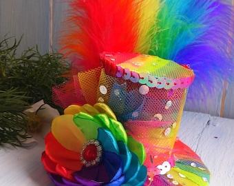 Mini Top Hat Headband Rainbow Mini Top Hat Mad Hatter Hat Tea Party Hat Alice in Wonderland Top Hat Fascinator Rainbow Mini Hat Baby Shower