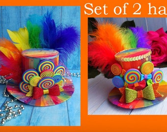 Mom and daughter top hat Birthday party hat Rainbow mini top hat Candy mini  top hat Centerpiece Big little sister headband Rainbow mini hat 63658b00dcf4