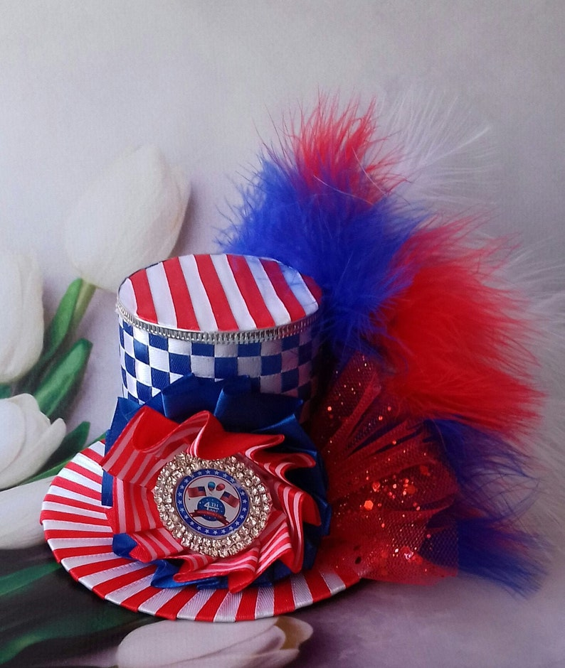 Mini top hat 4th of July Mini top hat 4th of July Headband 4th of July Fascinator Independence day Patriotic hat Centerpiece