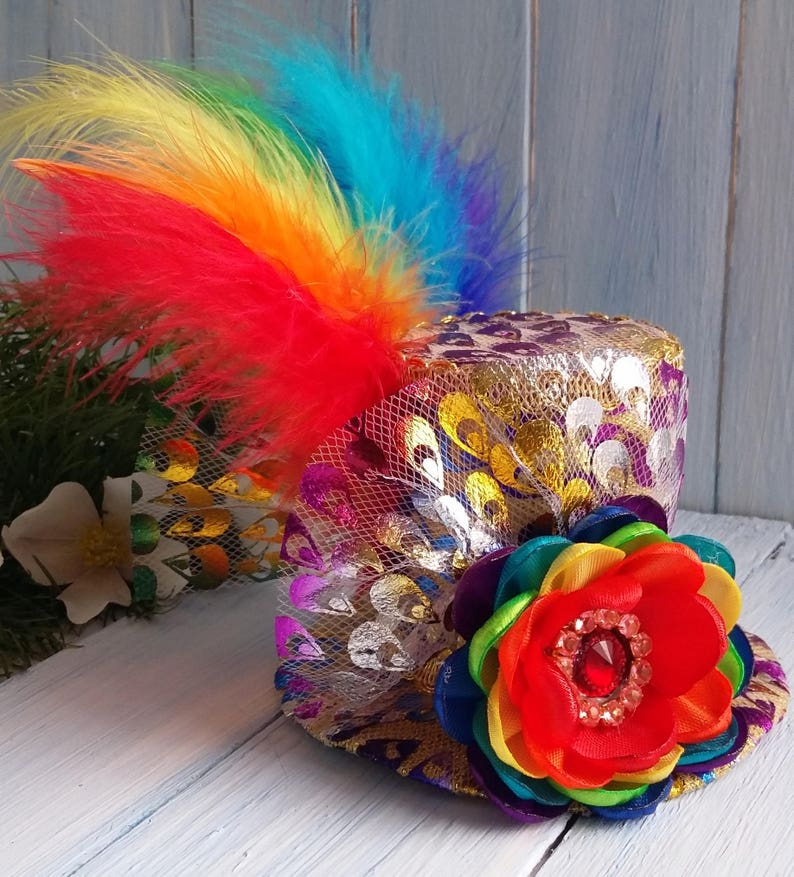 Mini Top Hat Headband Rainbow Mini Top Hat Mad Hatter Hat Tea  e5364bfaa731
