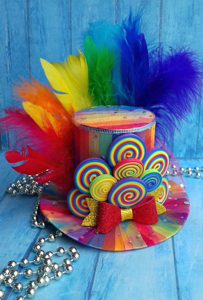 Rainbow top hat Candy Top hat Headband Adult top hat Mad  11433ba467f7