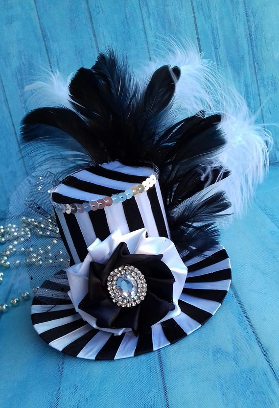 BABEYOND Mini Top Hat Fascinator Headband Feather Top Hat for Derby Tea Party