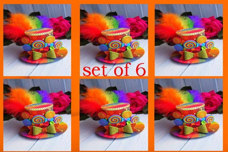 8b9f8a19631f6 Set of 6 Rainbow Mini Top hat Birthday party hat Mad hatter