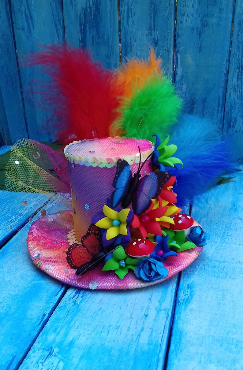 Rainbow mini top hat Alice in Wonderland hat Mad hatter hat  7c247d6f57b4