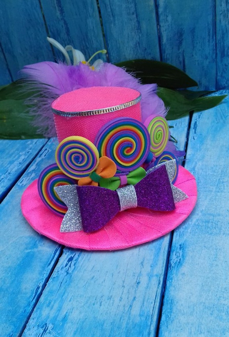 47ad5bbd9 Set of 5 Candy Mini Top Hat Headband Mad Hatter hat Alice in   Etsy