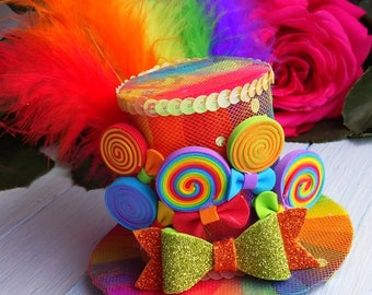 FREE SHIPPING Mini Top Hat Headband Rainbow Mini Top Hat Mad Hatter Hat Tea Party Hat Alice in Wonderland Hat Fascinator Rainbow Mini Hat