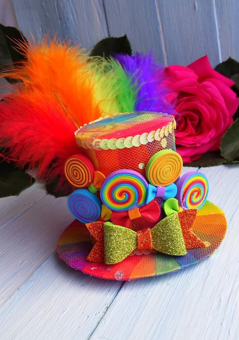 655b45a25879f Mini Top Hat Headband Rainbow Mini Top Hat Mad Hatter Hat Tea
