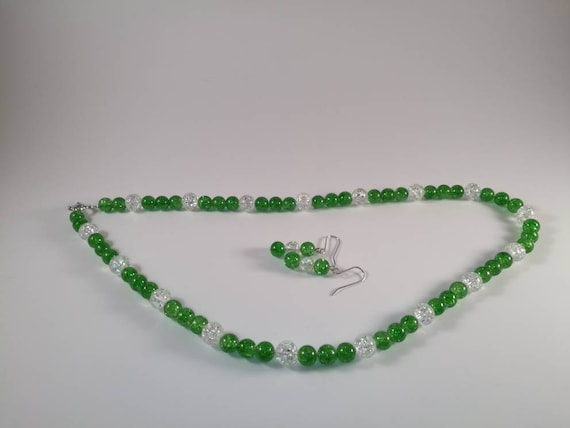 Bracelet CLEAR  Green and GREEN CRACKED Beads Handmade Jewelry Set includes Necklace and Pierced Earrings