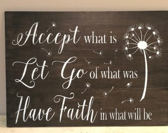 Rustic pallet sign 'Accept what is Let go of what was Have Faith in what will be, pallet sign, wood sign, home decor, inspirational signs