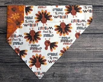 Thanksgiving Dog Bandana-Over the Collar- Gobble till you Wobble  Fall Turkey