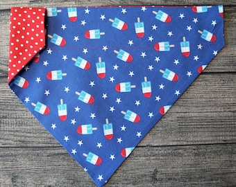Patriotic Summer Dog Bandana - Over the Collar,  Popsicles & Sparkle USA -4th July, Summer BBQ, Picnic