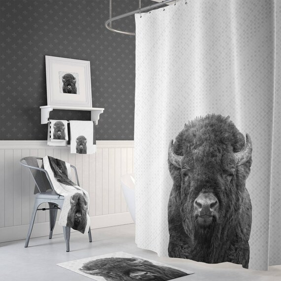 Buffalo Decor Shower Curtain Animal Towels