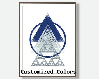 Blue Geometric Wall Art, Triangle Prints, Geometric Art Prints, Navy Decor, Customized  Art, Geometric Art, Modern Printable Art, Custom Art
