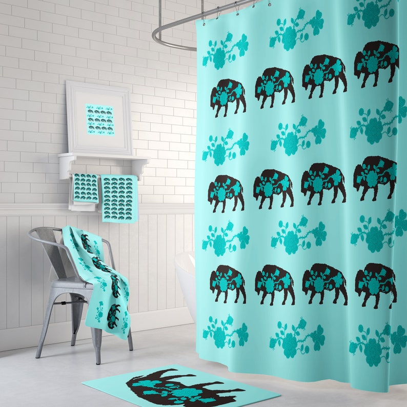 Buffalo Decor Shower Curtain Towels