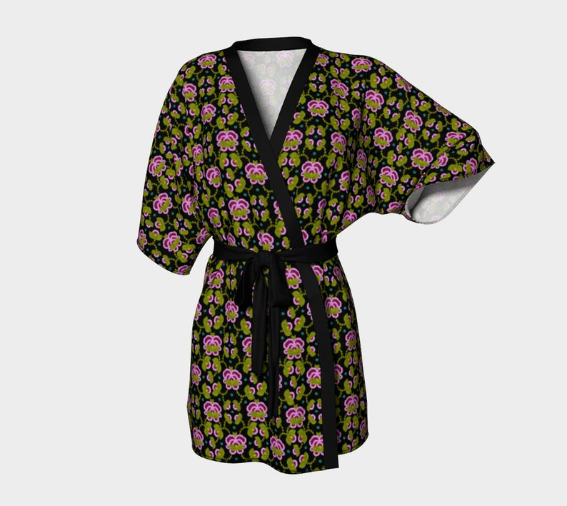 Dressing Robes M\u00e9tis Roses Rose Kimono Lingerie Gift Cover up Comfy Clothes Beadwork art Romantic Gift M\u00e9tis Beadwork Rose Robes