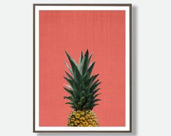 Pineapple Print, Tropical Fruit Wall Art, Colourful, Instant Download, Modern Minimal, Coral Pink, Pineapple Decor, Fruit Art, Feliss-Art