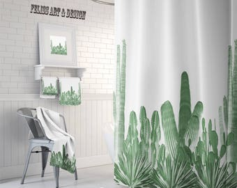 Cactus Decor, Cactus Shower Curtain, Cactus Towel, Southwestern Decor, Desert Decor, Cactus Bath Mat, Cactus, Bathroom Sets, Cactus Bathroom