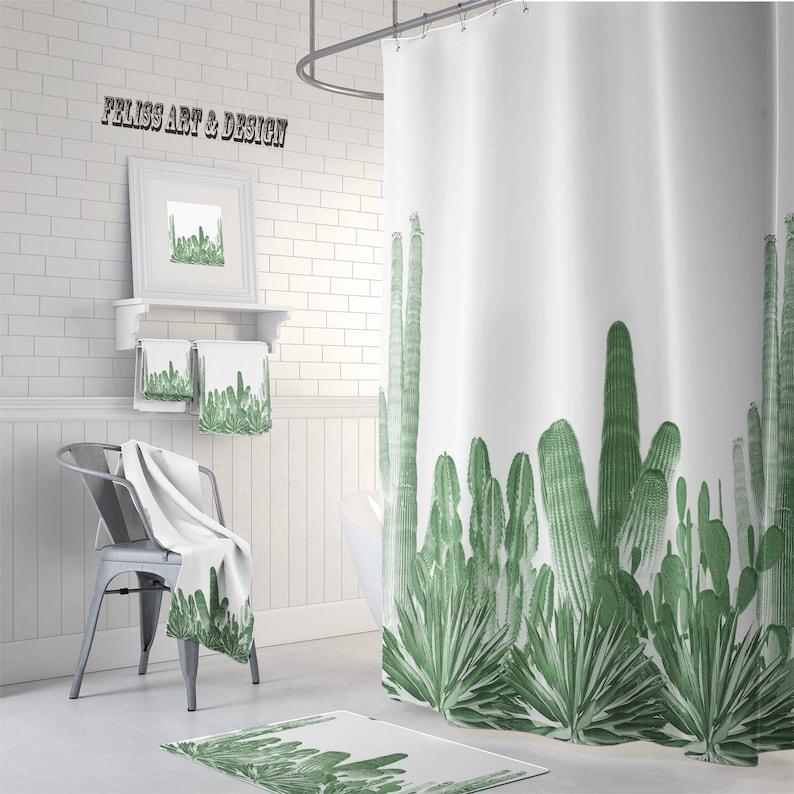 Cactus Decor Shower Curtain Towel