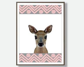 Deer Wall Art, Pink Printable Art. Pink Wall Art, Wall Art Deer, Printable Deer, Fawn Prints, Pink Nursery Decor, Printable Pink Nursery Art