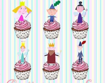 24 x Ben And Holly Stand-Up Pre-Cut Wafer Paper Cupcake Toppers