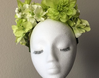 "Kiwi green ""Tish"" flower crown"