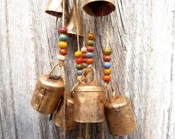 Bells Windchime, bells on string, colorfull windchime, string of bells, chime brass bells string, hanging bells, bells of sarna vintage bell