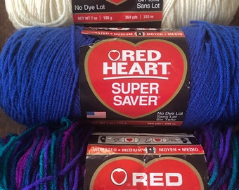 Assorted Multi Colors Red Heart Super Saver Yarns